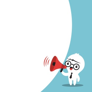 Business man on megaphone make an announcement with bubble speec
